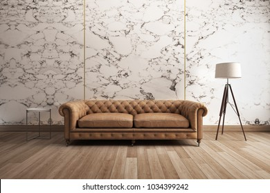 Classic sofa with white marble wall  Wooden Floor. 3D illustration
