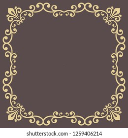 Classic square golden frame with arabesques and orient elements. Abstract ornament with place for text. Vintage pattern