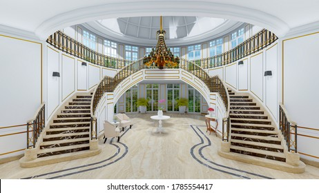 classic staircase Design 3D illustration 3D rendering