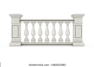 Classic Stone Pillars Balustrade with Columns on a white background. 3d Rendering