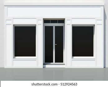 Classic store facade with large windows for small business. White shop 3D render