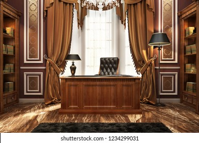 classic style director's office. 3D rendering