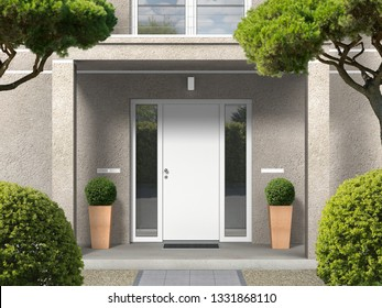 classic style house facade with entrance portal, balcony, pillars and front door - 3D rendering