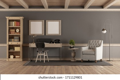 Classic style living room with wooden bookcase,desk and armchair - 3d rendering