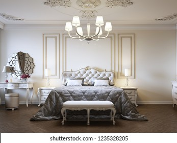 Classic style luxury bedroom interior in beige colors with boudoir and window. 3d rendering