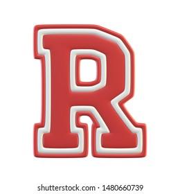 Classic style Sport Team font. Vintage sport font for american football, baseball or basketball 3d illustration, letter R