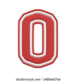 Classic style Sport Team font. Vintage sport font for american football, baseball or basketball 3d illustration, letter O or number 0