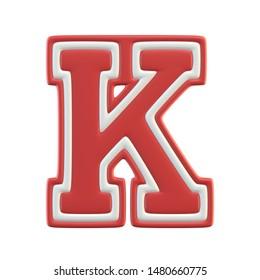 Classic style Sport Team font. Vintage sport font for american football, baseball or basketball 3d illustration, letter K