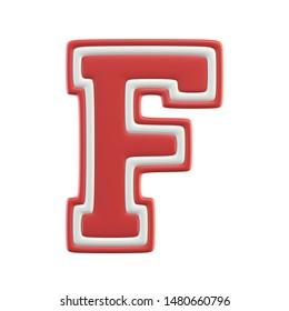 Classic style Sport Team font. Vintage sport font for american football, baseball or basketball 3d illustration, letter F