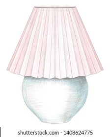 Classic table lamp with pink lampshade isolated on white background. Watercolor and lead pencil graphic hand drawn illustration