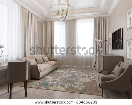 Classic Traditional Modern Room Home Office, Living Room Or Bedroom Guest  Room Interior Design.