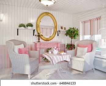 Classic Traditional Provence White and Pink Colors Veranda Rest Living Room Interior Design With Wicker Chairs and Fireplace, Wooden Wall Panels . 3d rendering