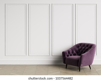 Classic tufted armchair  in classic interior with copy space.White walls with mouldings. Floor parquet herringbone.Digital Illustration.3d rendering