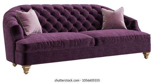Classic tufted sofa purple color with 2 pink pillows isolated on white background.Perpective view.Digital illustration.3d rendering