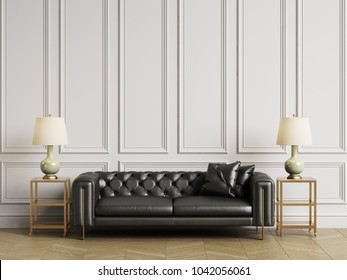 Classic tufted sofa,side tables and lamps in classic interiror with copy space.White walls with mouldings. Floor parquet herringbone.Digital Illustration.3d rendering