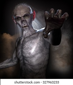 A classic vampire reaching out. High quality 3D rendered.