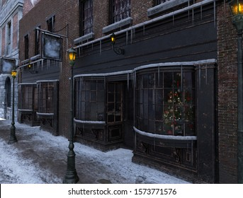 Classic Victorian street store front facade on Christmas morning with 19th century city buildings, a touch of a Dickens Christmas scene, 3d render.