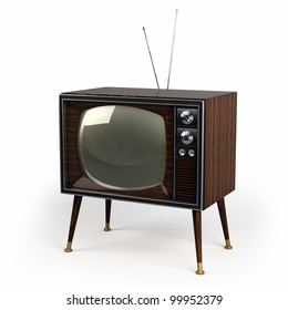 Classic vintage TV with wood veneer design over white background