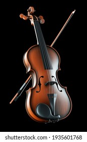 Classic violin, musical instrument on black background 3d