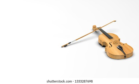 Classic violin under white background. 3D sketch design and illustration. 3D high quality rendering.