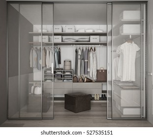 Classic walk in closet with glass sliding doors, 3d illustration