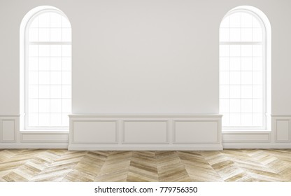 Classic white empty room with wood floor mock up interior 3d render illustration