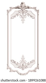 Classic white frame with ornament decor isolated on white background. Digital illustration. 3d rendering