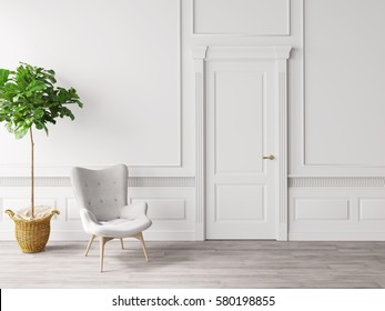 classic white interior with chair and plant 3D illustration
