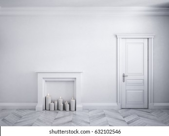 Classic white interior with door, parquet, and fireplace with candles. 3d render illustration