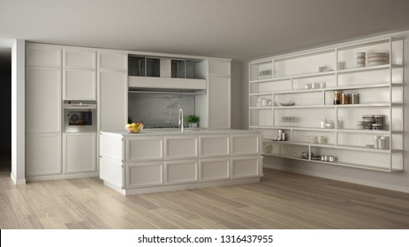 Classic white kitchen in modern open space with parquet floor and big shelving system with decors, island and accessories, minimalist contemporary interior design, 3d illustration