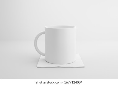 Classic white mug and fabric coasters on white background with blank template mockup style. Empty cup or drink mug. 3D rendering.