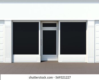 Classic white store facade for small business 3D rendering