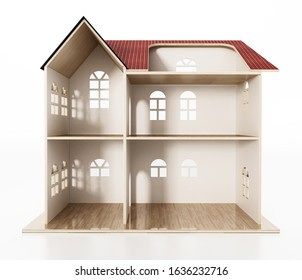 Classic wooden dollhouse isolated on white background. 3D illustration.