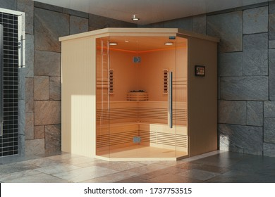 Classic Wooden Infrarered Finnish Sauna Cabin in Bathroom Interior extreme closeup. 3d Rendering