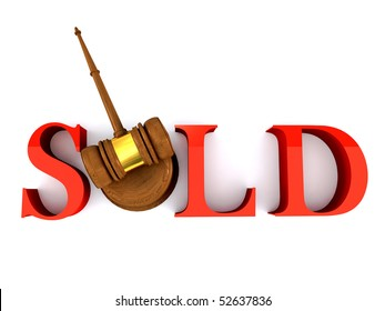 Classic wooden judge's gavel and sold word