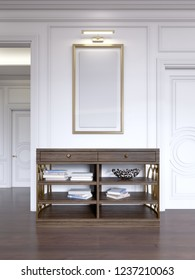 Classic wooden open console against the wall, with shelves and books and a picture with light over. 3d rendering
