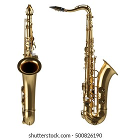 Classical alto saxophone isolated on white background. 3D illustration. High quality