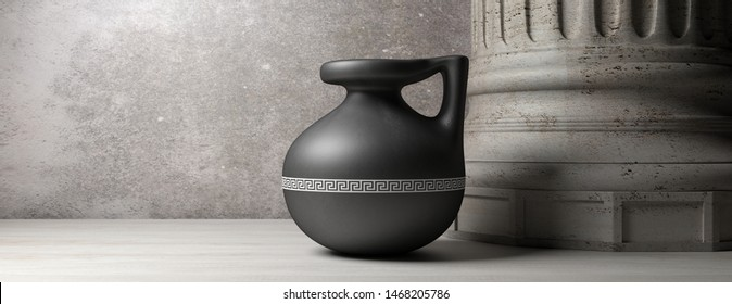 Classical ancient greek civilization. Small craft pottery vase with handle and marble column, banner, copy space. 3d illustration