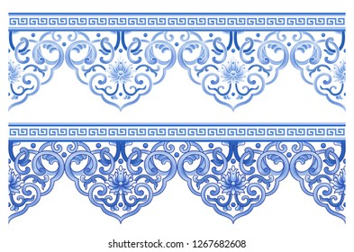Classical blue and white porcelain pattern pattern decorative lace