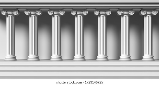Classical building stone columns. Ionic style marble pillars colonnade, Ancient greek temple facade. 3d illustration