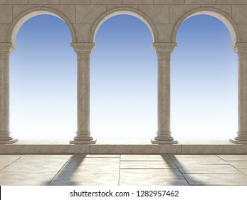 Classical colonnade against the blue sky. Beautiful classic colonnade. 3D Illustration