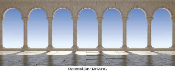 Classical colonnade against the blue sky. Beautiful classic colonnade. Panoramic view. 3D Illustration