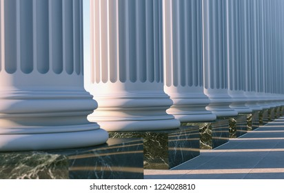 Classical Columns in 3d, Roman or Greek Architecture Background.