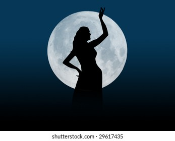 Classical dancer with moon
