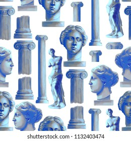 Classical design with ancient ionic order column and Venus Milos statues. Digitally painted seamless pattern in gouache technique