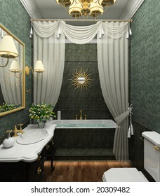 Classical design interior of bathroom. 3D render