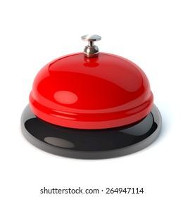 Classical desktop bell, reception bell, game show buzzer style, 3d rendering