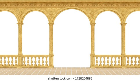 Classical greek colonnade with a balustrade and columns and arches.3d rendering