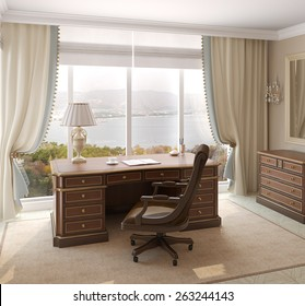 Classical interior of home office. 3d render. Photo behind the window was made by me.