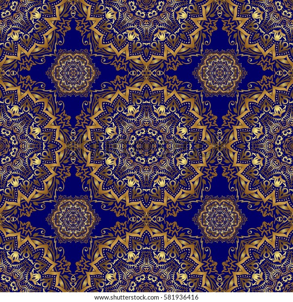 Classical invite sample seamless pattern with lace damask pattern. Laconic wedding card decorated with golden ornament on a blue background. Announcement card in a simple design.